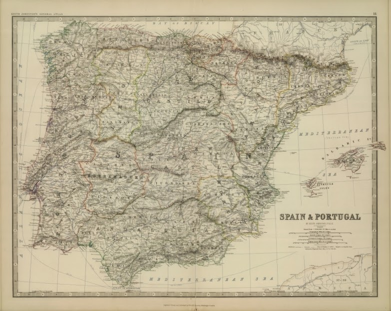 España y Portugal, Alexander Keith Johnston 1879