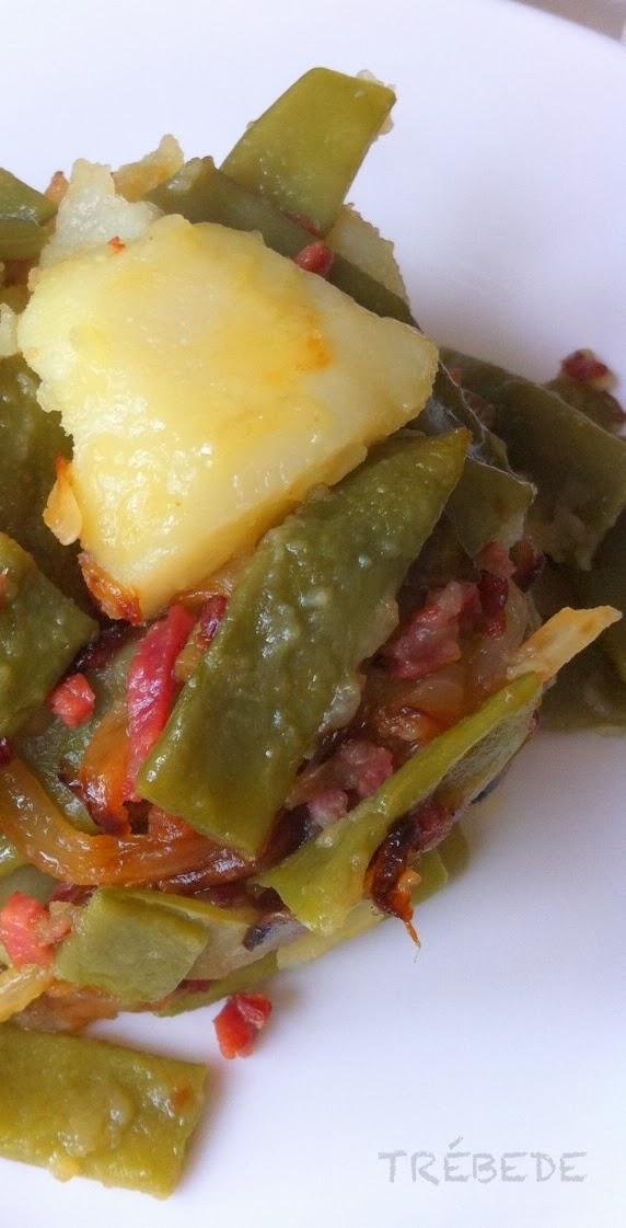 Tr bede jud as verdes a la espa ola con patatas y jam n for Cocinar judias verdes