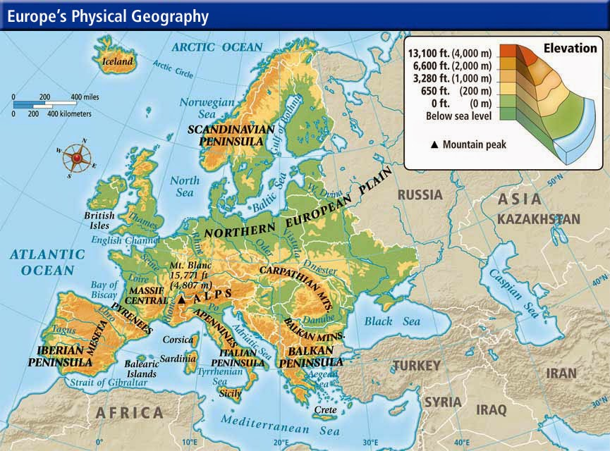 Map physical of Europe showing elevations.