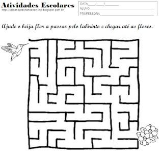 atividades para crianças labirinto para imprimir