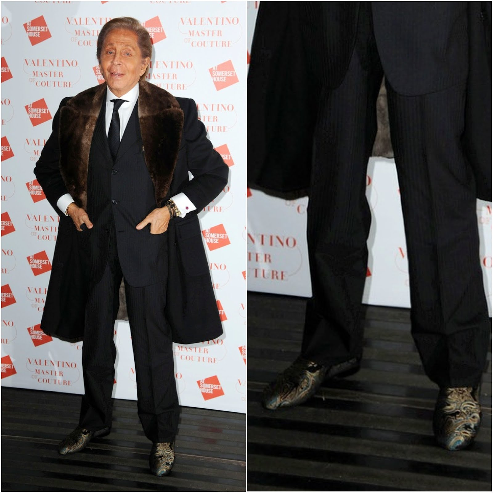 00O00 London Menswear Blog Celebrity Style Valentino Garavani's Jimmy Choo slippers at the VIP view of Valentino: Master of Couture