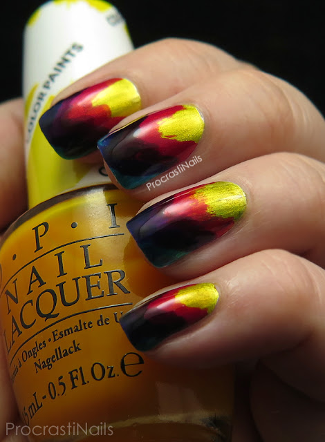 Rainbow ikat nail art using the OPI Color Paints