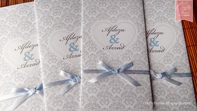 Pastel Blue Damask Vintage Wedding Card Malaysia for Malay Wedding, Kad Kahwin