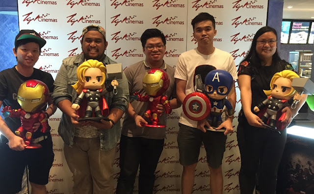 "TGV Maybank-IMAX Watch and Win contest winners 18"" avengers figurines"