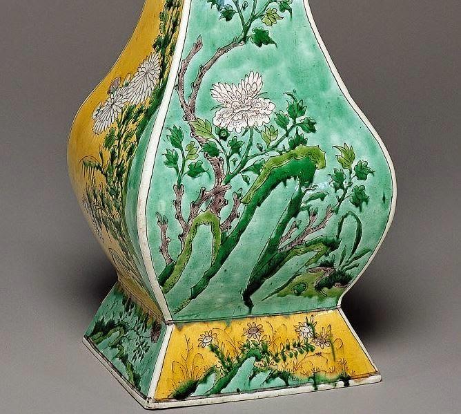 "<img src=""Kangxi Fang Hu Porcelain Vase .jpg"" alt="" Detail of Famille Jaune on Biscuit"">"
