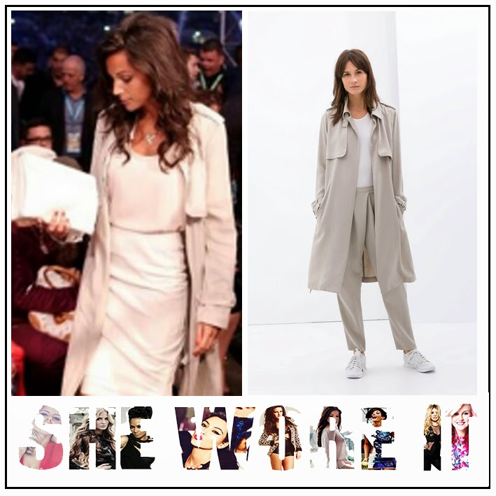 Michelle Keegan, Zara, Light Grey, Loose Fitting, Trench Coat, Topshop, Scoop Neck, Nude, Sleeveless, Vest Top, Kardashian Collection, Lipsy, Pencil Skirt,  Knee Length, Skirt, Zip Detail,