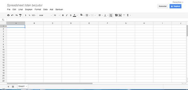 tampilan spreadsheet google drive