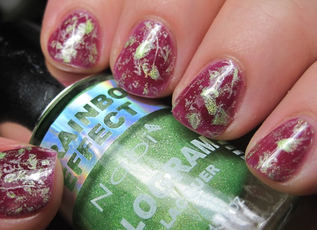 Lacquerhead Polish Plum Crazy stamped with Milani Pearl White & Nabi Green