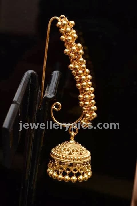 jhumka allover earrings in gold beads
