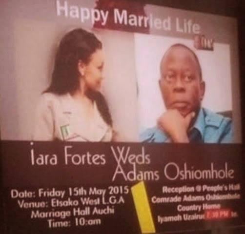 governor adams oshiomhole wedding invitation