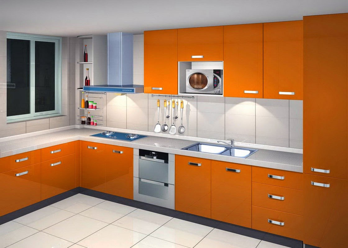 model dapur minimalis warna orange