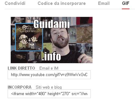 Condividere GIF animata creata con la funzione YouTube
