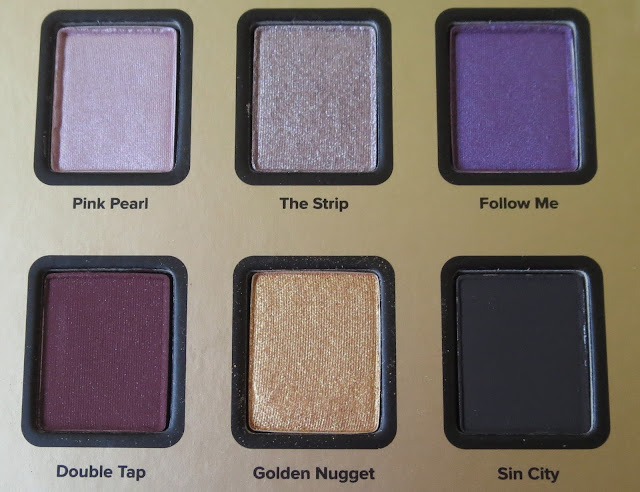 a picture of Too Faced Star Dust Vegas Nay palette ; Sin City, Golden Nugget, Double Tap, Follow Me, The Strip, Pink Pearl
