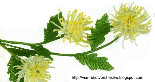 Цветок хризантема из бисера.