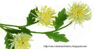 Цветок хризантема из бисера. Мастер-класс