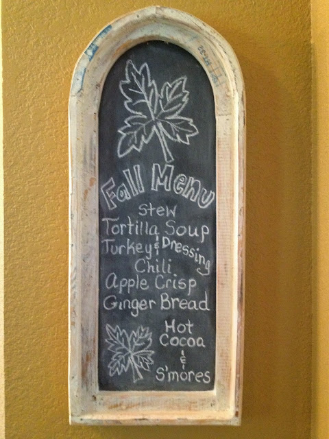 fall chalkboard with Fall menu