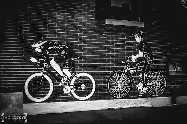 Brick, Bicycles, Bicycling, Bike, Bikes, Black & White, B&W, The Grove, Maplewood, MO, Missouri,