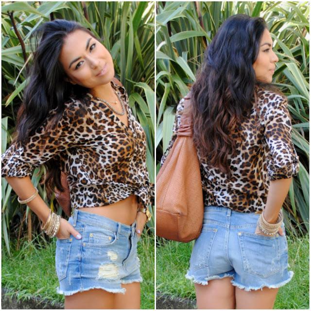 daniela pires, fashion blogger, denim, leopard print, trend, fashion, streetstyle, shorts, summer, look, outfit, schutz