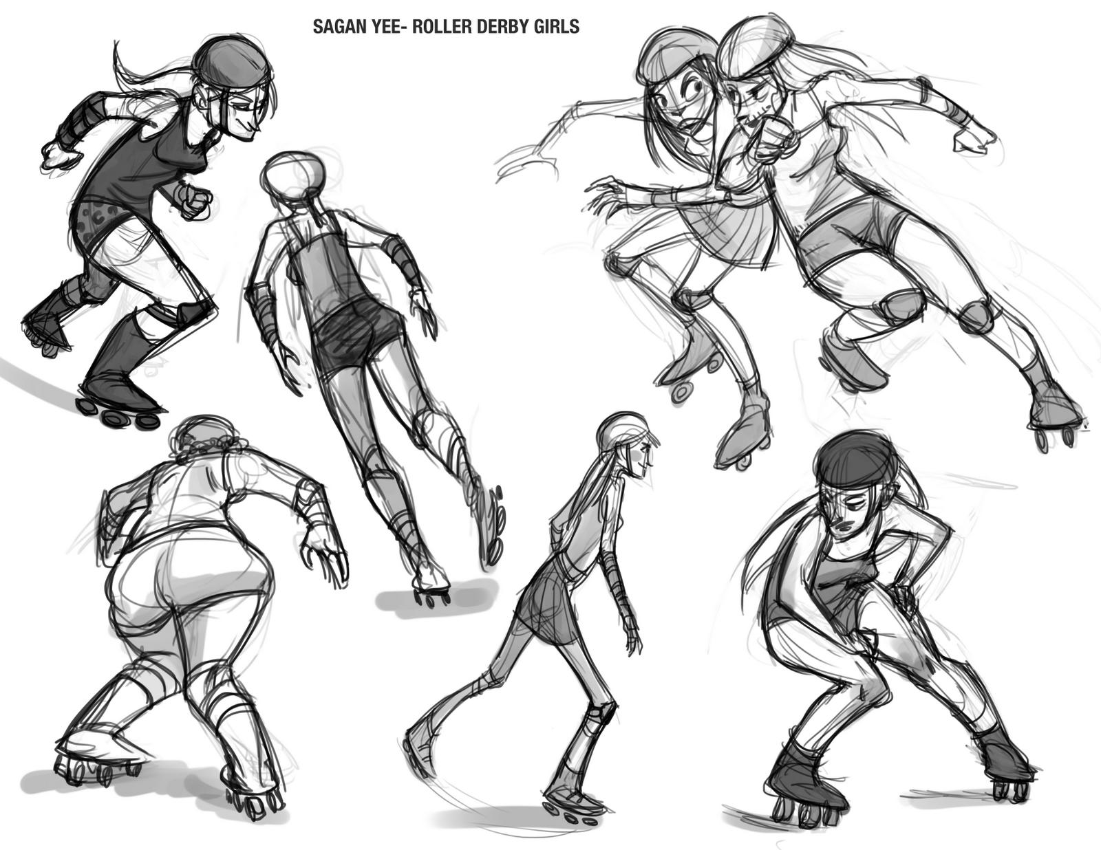 Saganimation The Art of Sagan Yee Roller Derby gestures