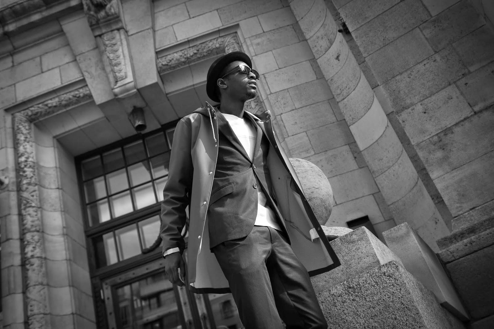 Espionage editorial suits sunglasses l'homme rouge stutterheim raincoat
