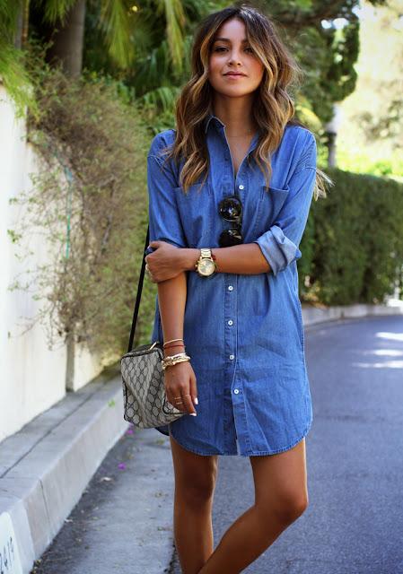 vestido jeans estilo camisa