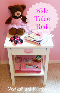 DIY pink and white laminate side table painted with chalk paint in a pink girl's room