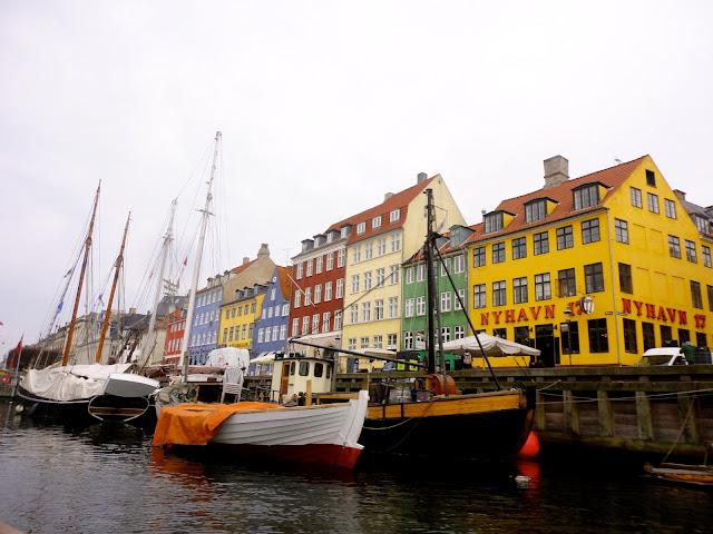 Colourful houses of Nyhavn by the harbour, Copenhagen, Denmark