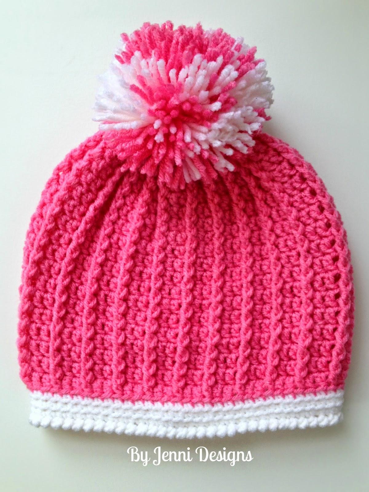 By Jenni Designs: Free Crochet Pattern: Ribbed Pre-School Size Hat