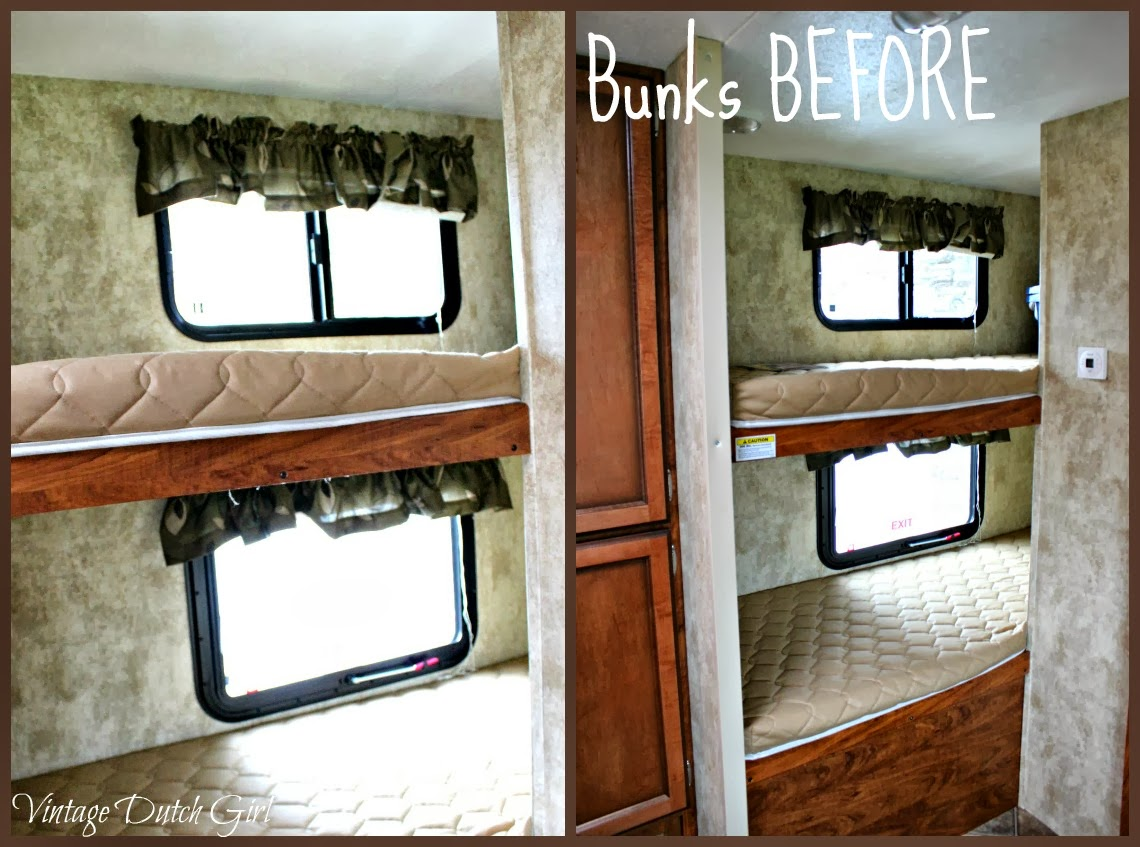 vintage dutch girl travel trailer makeover part 9 bunk beds and windows. Black Bedroom Furniture Sets. Home Design Ideas