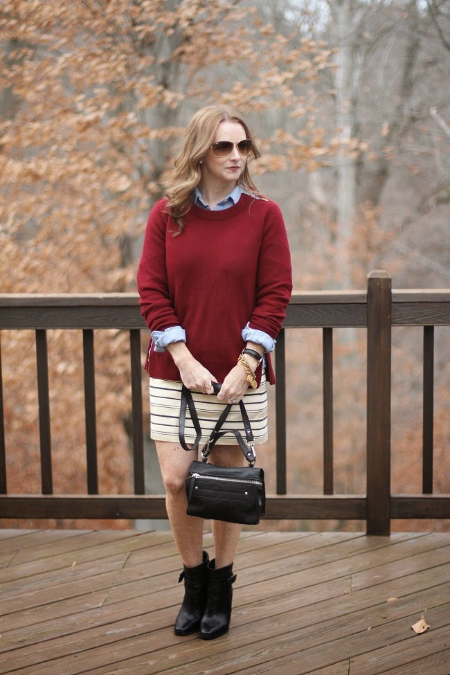jcrew factory sweater, jcrew factory skirt, jcrew chambray, kate spade booties, ASOS handbag, Ray Ban sunnies, Daniel Wellington watch