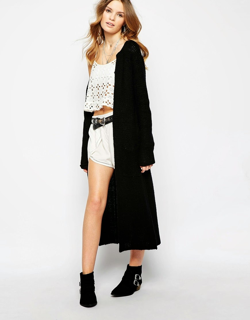 spring fashion. boho chic. black longline maxi cardigan