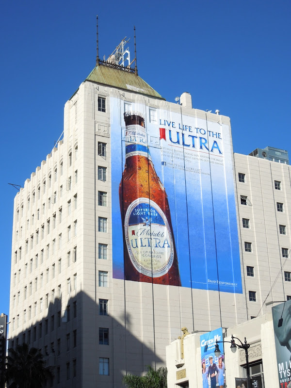 Giant Michelob Ultra beer wall mural