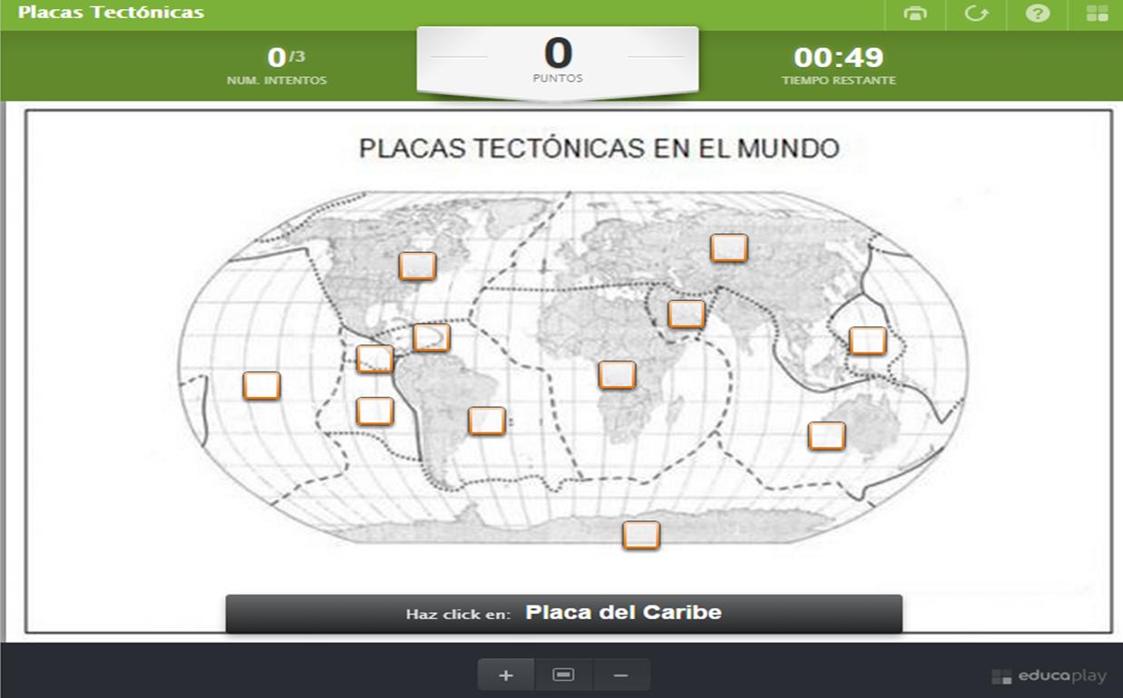 Juego interactivo para ubicar las placas tectónicas en el mundo