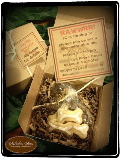 dino dig, sugar cookie bones, invitation, boxed invitation