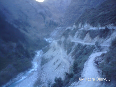 Damaged and dangerous rock strewn road conditions in the Garhwal Himalayas during the Char Dham Yatra