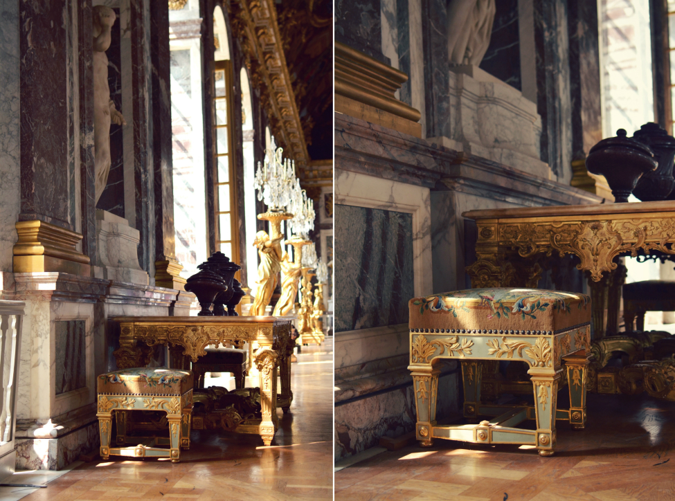 decorations at the chateau de versailles, a little seat