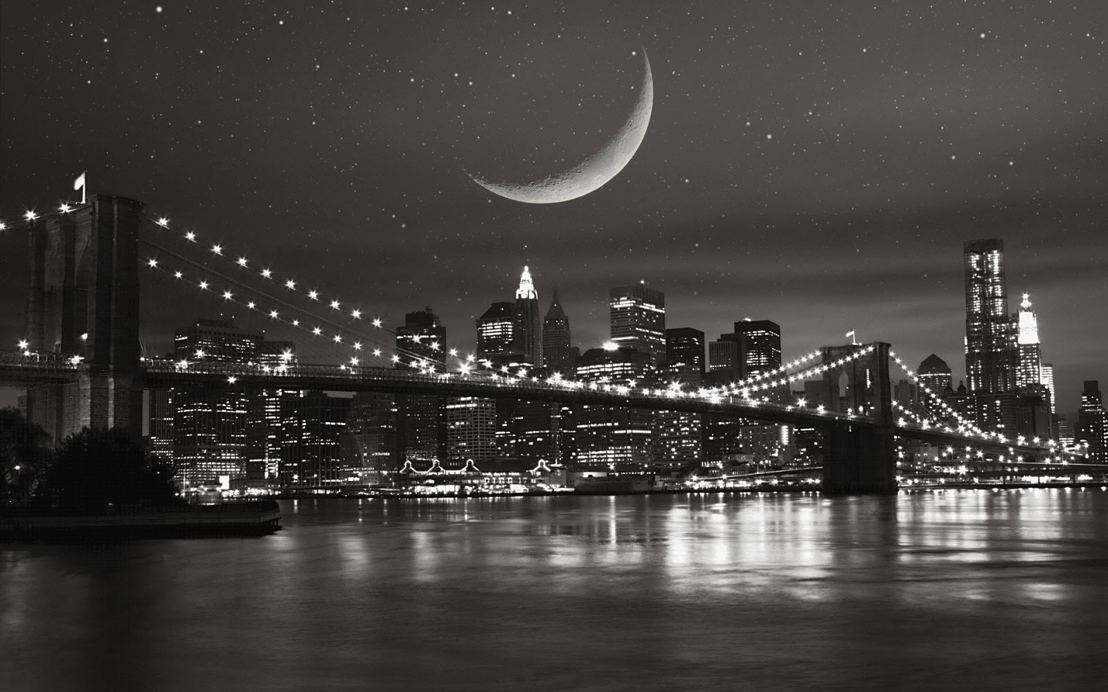 Moon And New York City Desktop Wallpapers