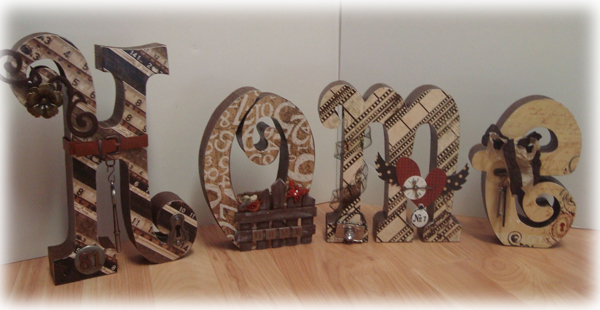 Simply Me Altered Wooden Letters Home