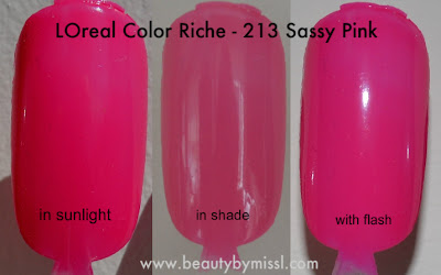 L'Oreal Color Riche - Sassy Pink swatches