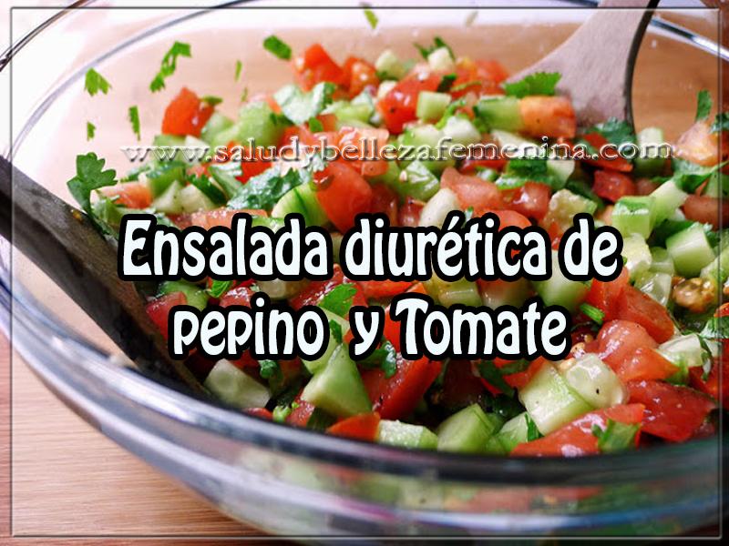 Recetas saludables, ensalada diurética de  pepino  y Tomate