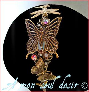 Serre-tête féerique elfique papillon libellule fée elfe strass Swarovski accessoire cheveux coiffure mariage wedding elven fairy butterfly dragonfly headband