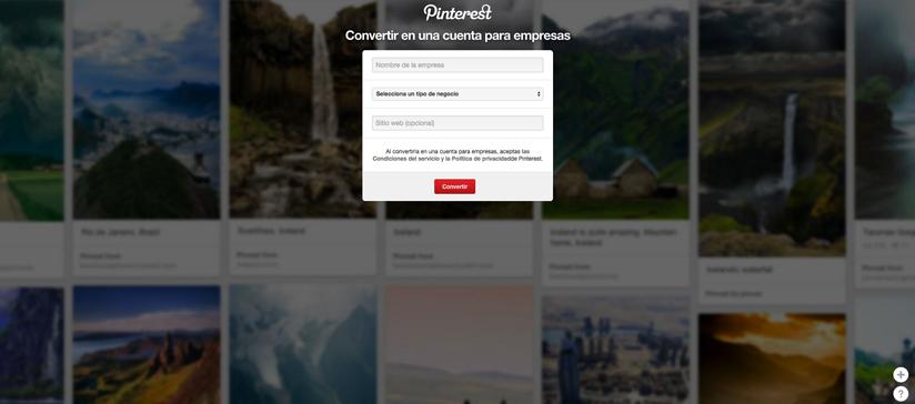 pantallazo pinterest para empresas