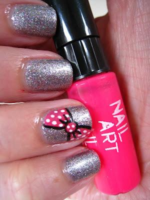 Silver-Multi-Glitter-nail-art-pink-bow