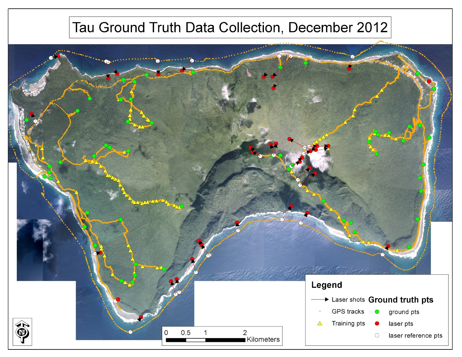 satellite image of tau showing spatial data collected during fieldwork