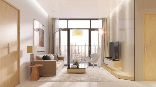 Phối cảnh phòng khách căn hộ Luxcity.