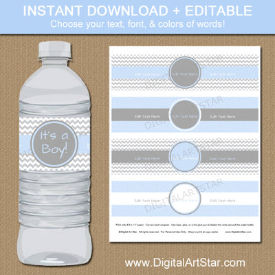 Baby blue & grey chevron printable baby shower water bottle labels