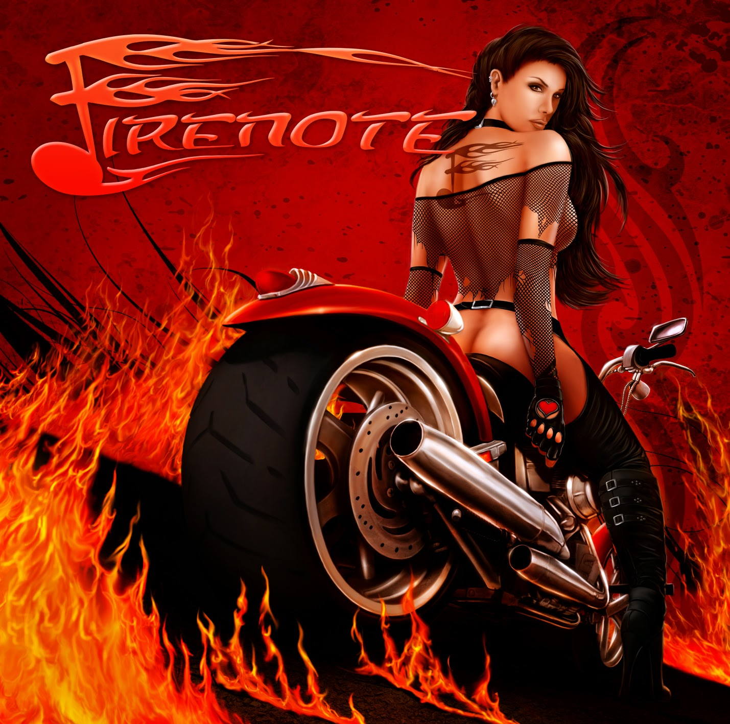 heavy metal album cover motorbike woman