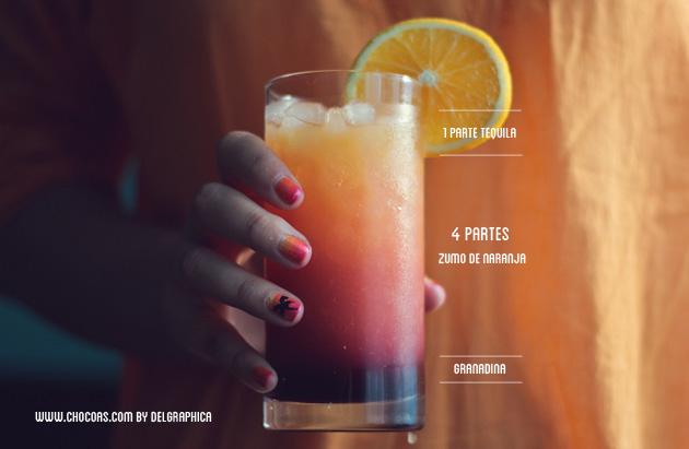 Tequila Sunrise - tequila, zumo de naranja y granadina