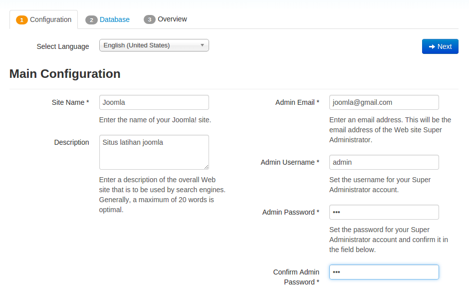instal joomla-step 1 - configuration