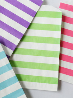 Green Stripe Paper Bag Printed Craft Supply
